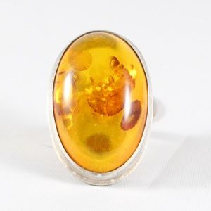 Jewelry - Sterling Silver Large Amber Ring 8.5